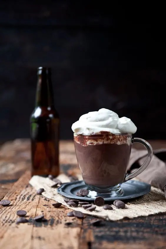 stout hot chocolate with beer whipped cream is a great idea of a singature cocktail