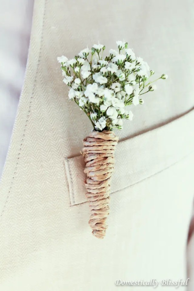 DIY baby's breath and twine wedding boutonniere (via domesticallyblissful.com)