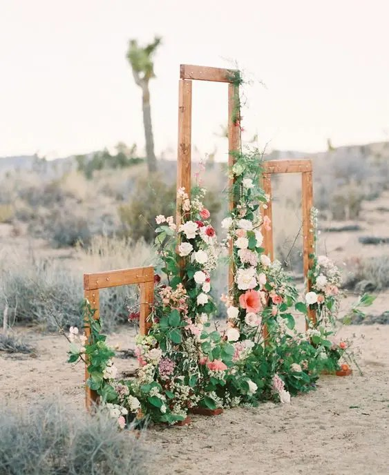 Rustic Wooden Frames Decorated With Lush Flowers And Greenery For A Desert  Space Or A Rustic