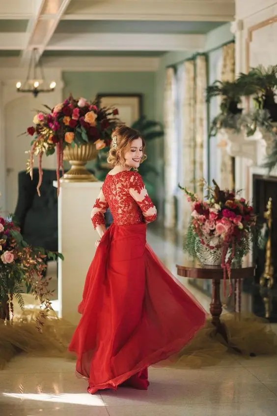 e598e427926 a red wedding gown with a lace illusion bodice and a plain layered skirt  plus a