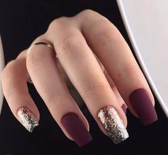 matte burgundy nails and silver glitter ones are amazing for holidays, they look modern and fresh
