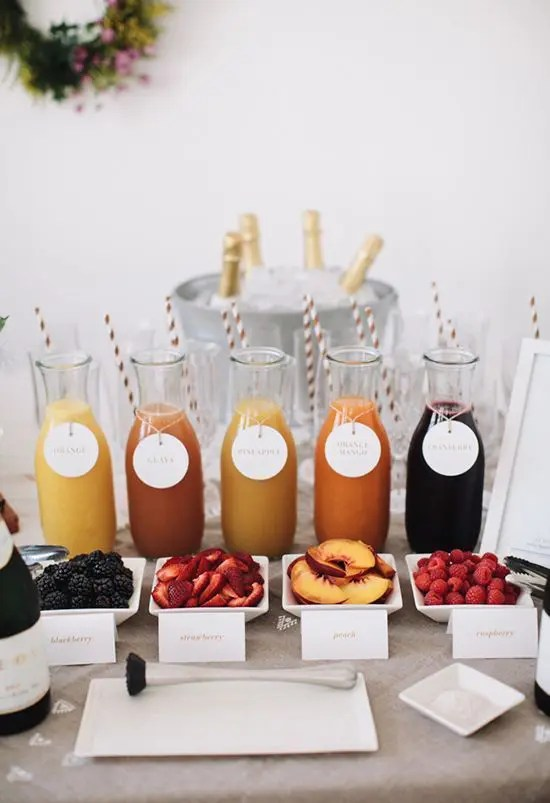 a mimosa bar is another cool idea for a bar at the wedding, rock one for sure