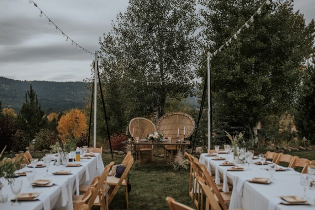 The wedding reception took place outdoors, it was styled with boho and modenr touches