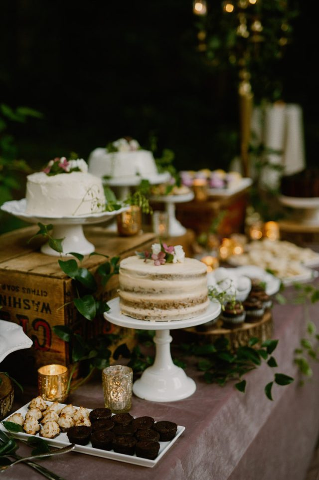 The couple went for a large dessert table with lots of sweets and several cakes but no cake cutting moment