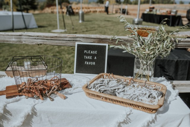 These are wedding favors that the couple crafted for the guests
