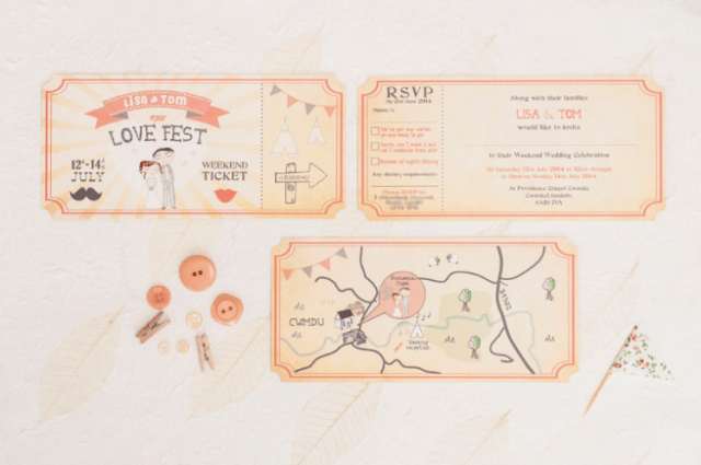 an illustrated ticket-style wedding invitation suite is a gorgeous idea