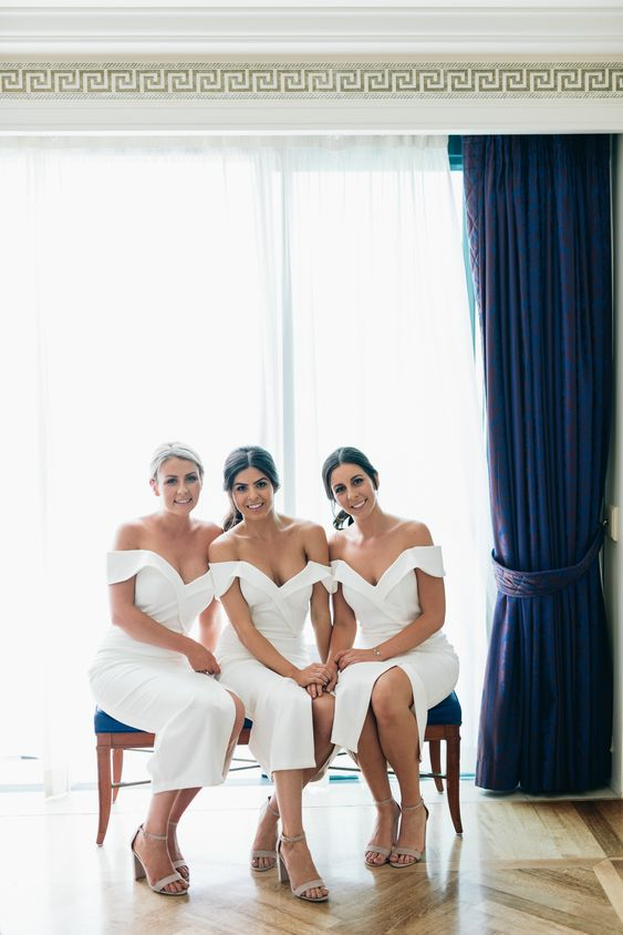 off the shoulder white bridesmaid midi dresses look very chic, refined and feminine
