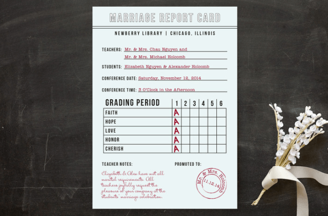 a marriage report card is a fun alternative to a usual wedding invitation