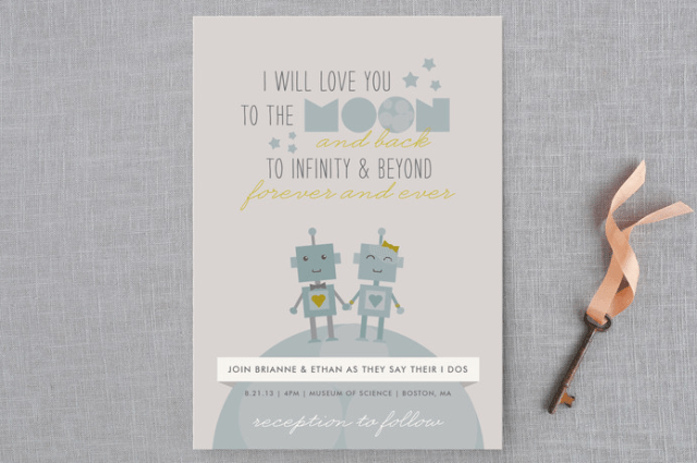 if you love robots, if you are nerds, why not try a robot-inspired wedding invitation