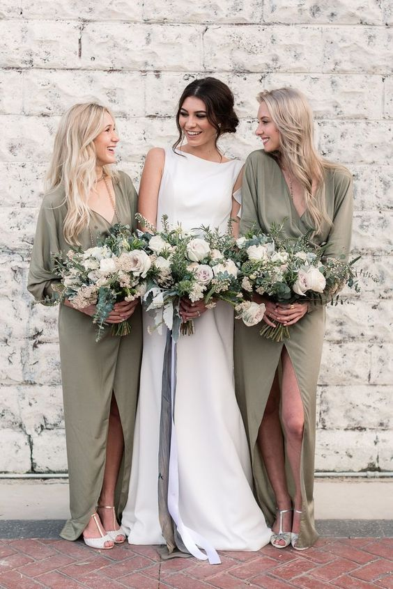olive green chiffon wrap maxi bridesmaid dresses with long sleeves, T-strap shoes for an elegant look