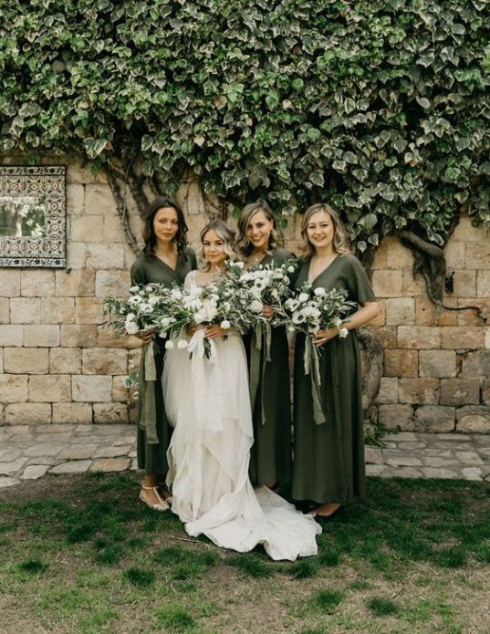 62d7ab37c2b9 dark green wrap plain bridesmaid dresses with short sleeves and V-necklines
