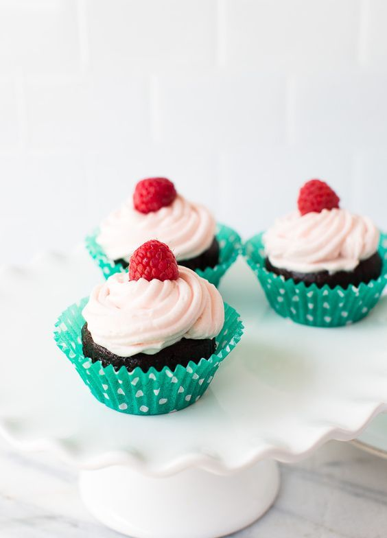tasty gluten free, dairy free and nut free chocolate cupcakes topped with fresh raspberries