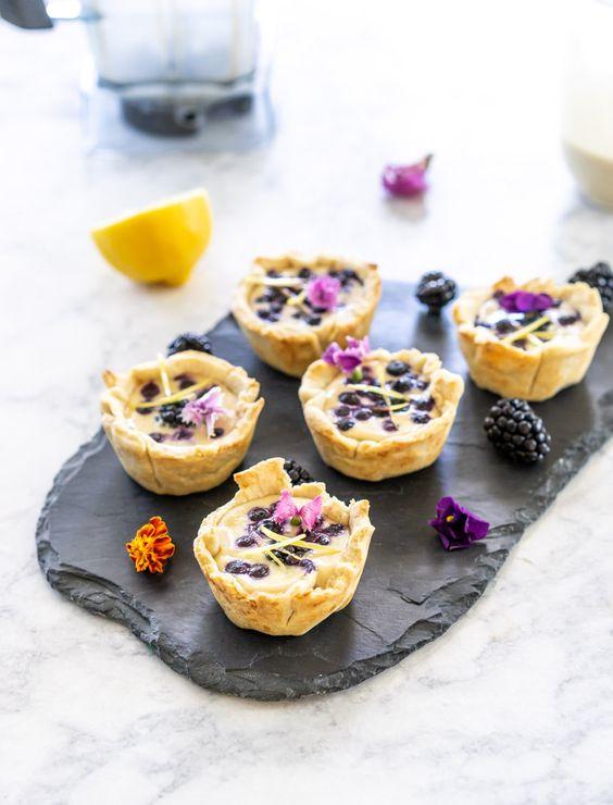 mini vegan tarts with cashew lemon custard and blueberries and blackberries are fantastic