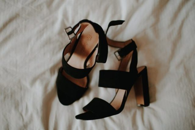 black velvet wedding shoes with wide straps and black heels will add a chic touch to your outfit