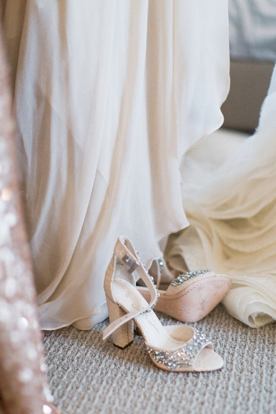 nude ankle strap wedding shoes with heavy embellishments and block heels for a shiny touch