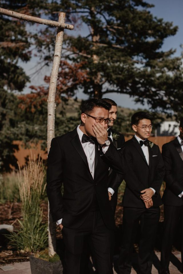 the first look at the ceremony makes the groom cry - this is so heartwarming, so touching, so full of love