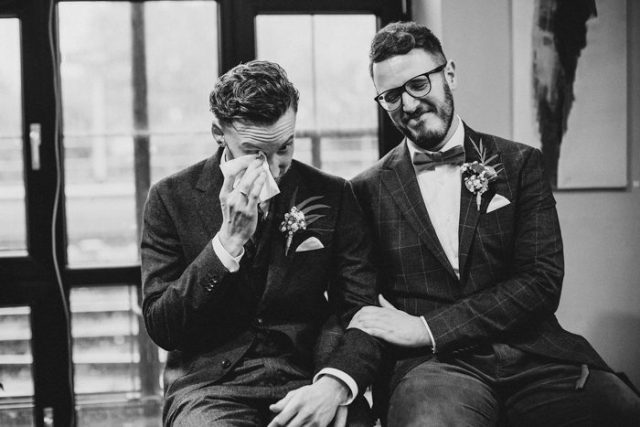 a groom crying during the ceremony - yes, many couple are crying during that