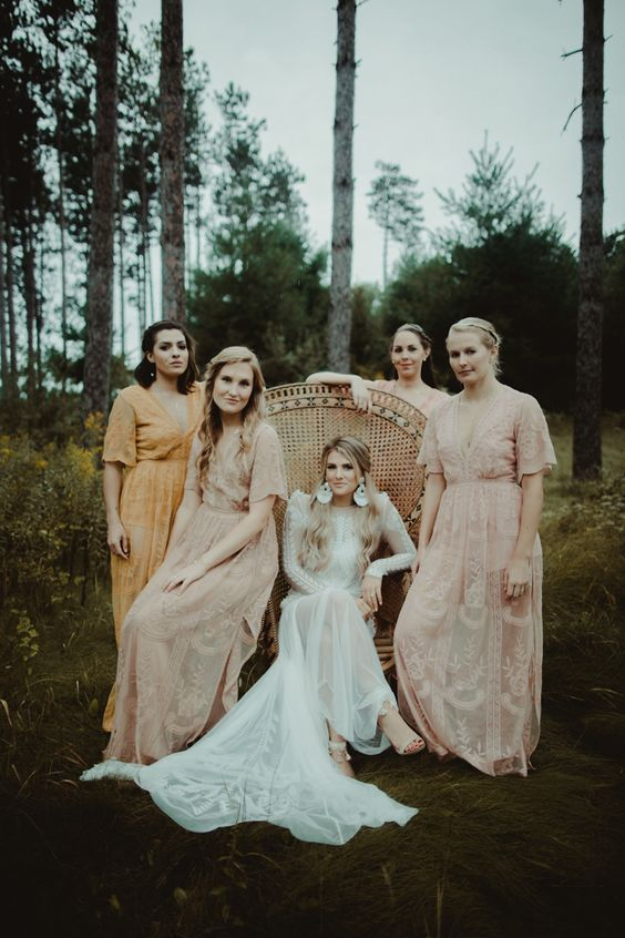 blush boho maxi dresses with short sleeves and a yellow matching one for the maid of honor