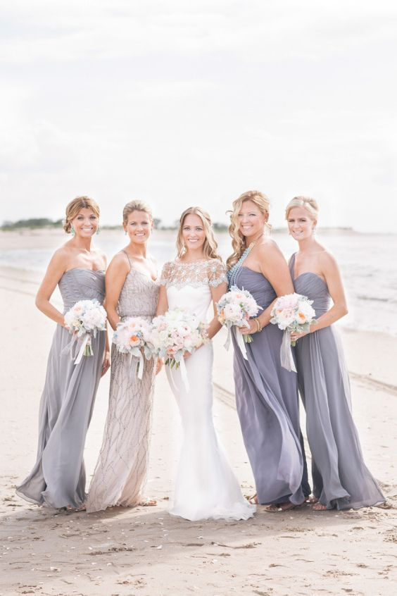 grey maxi dresses with draped bodices and a spaghetti strap fully embellished dress for the maid of honor