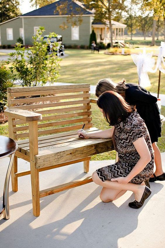 a bench wedding guest book to be signed by the guests and later placed in your garden or another outdoor space