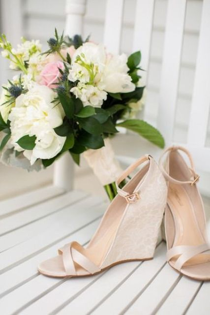 nude strappy wedges with lace heels and ankle strap are a classic and stylish option