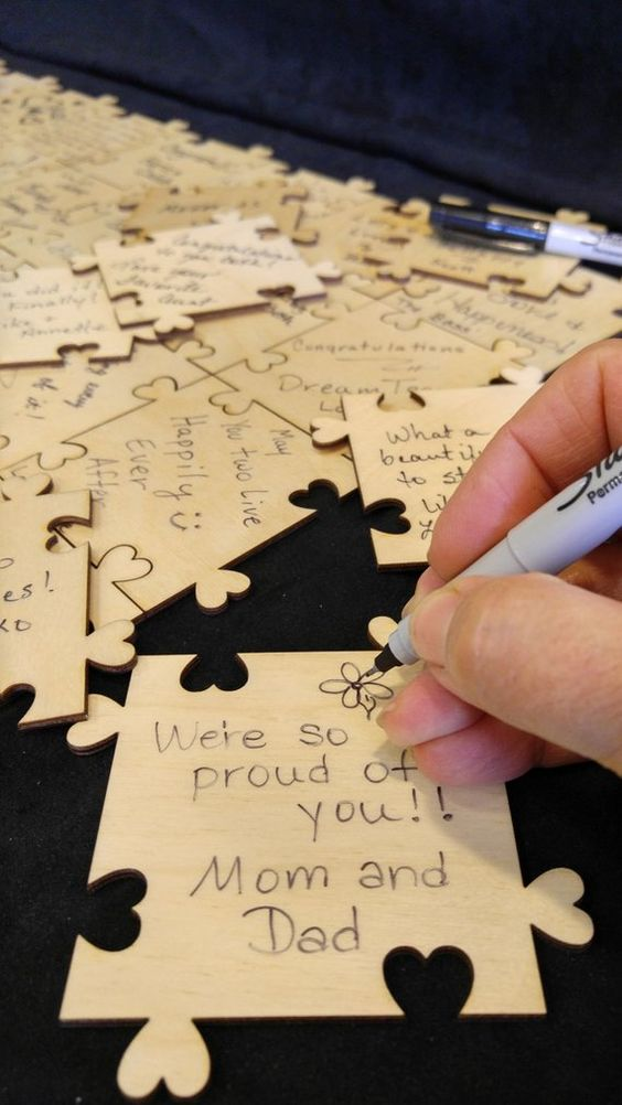 make a lovely heart puzzle and let your guests sign them all for a cool and cute look