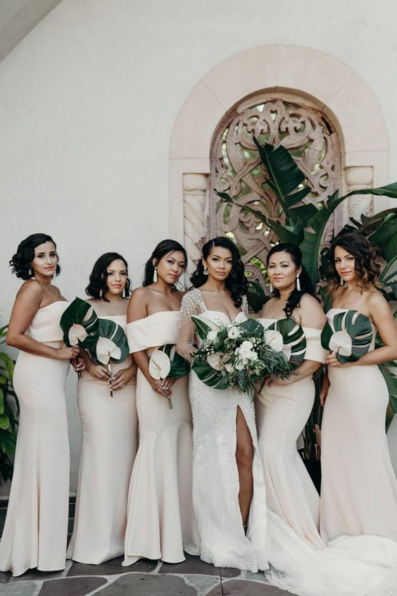 chic neutral off the shoulder and strapless mermaid bridesmaid dresses for a sexy statement