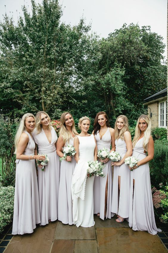 7cd0e872844 chic and sexy off-white bridesmaid maxi dresses with plunging necklines