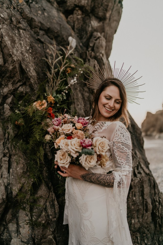 The second bouquet was done with neutral and pink blooms plus textural greenery
