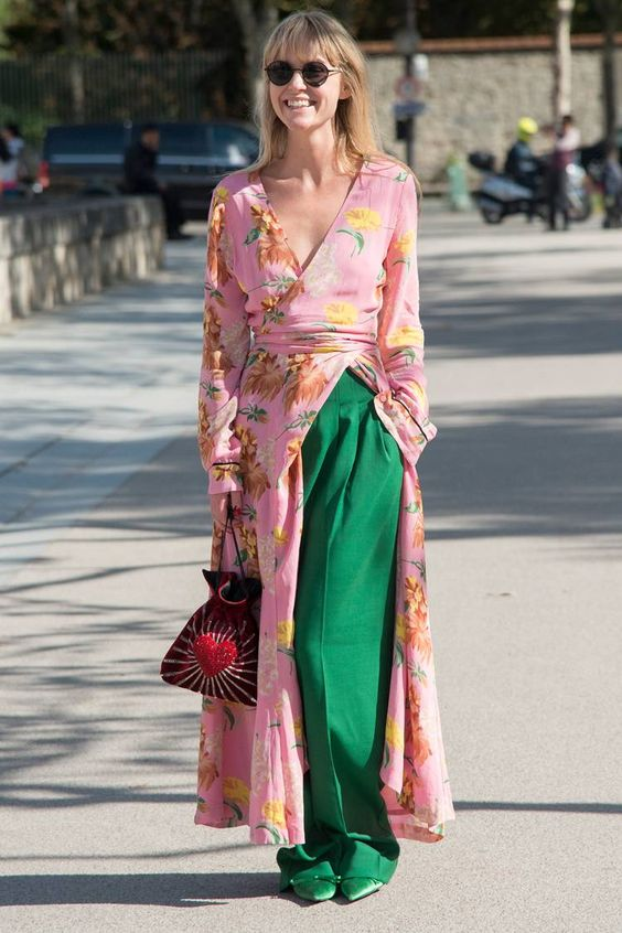a pink floral kimono, apple grene wideleg pants, matching shoes and a bright emberoidered bag