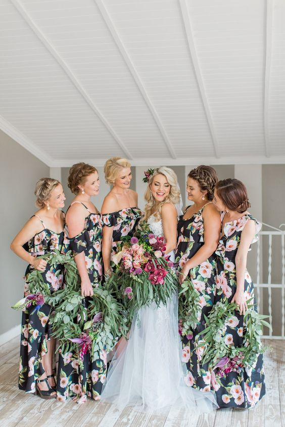 94b4de75de7a ... spaghetti straps or halter necklines for a boho jungalow look. dark  floral cold shoulder maxi bridesmaid dresses with ruffles are a chic and  non-typical