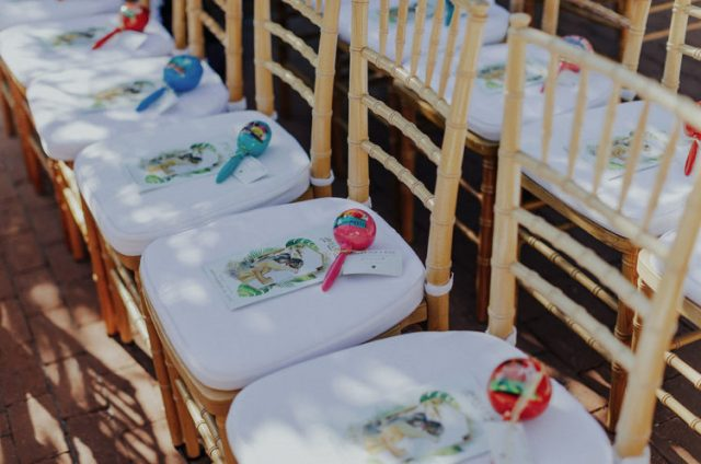 Maracas were offered to the guests as wedding favors - the groom loves Mexico