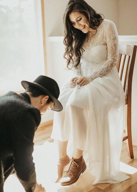 rough leather boots won't spoil any bridal look, so feel free to rock them with your stunning elopement wedding dress