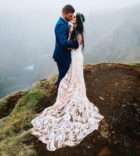 if you wanna wear a dress with a long train, consider putting it on only somewhere around the spot of your ceremony