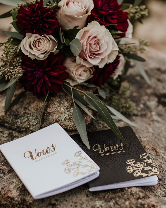 personalized vow books with decor will make your elopement more special
