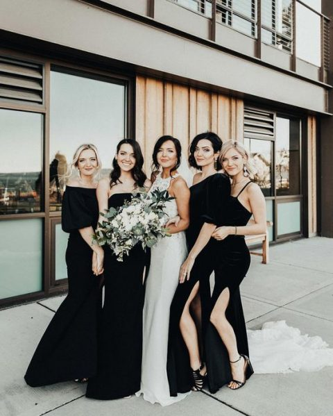 gorgeous mismatched black velvet bridesmaid dresses with slits will do for a fall or winter wedding