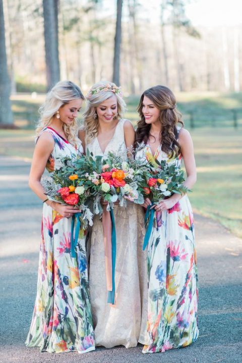 colorful wide strap maxi dresses with a V-neckline and watercolor floral prints