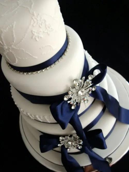 Navy Cake And Wedding Blush