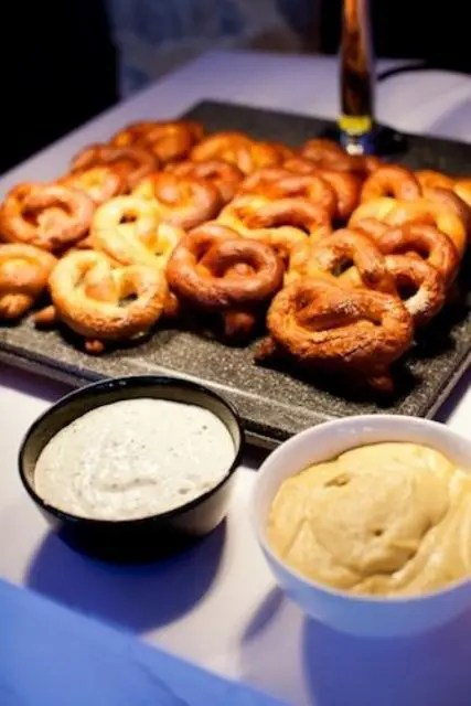 pretzels with various kinds of dip are a delicious and traditional idea