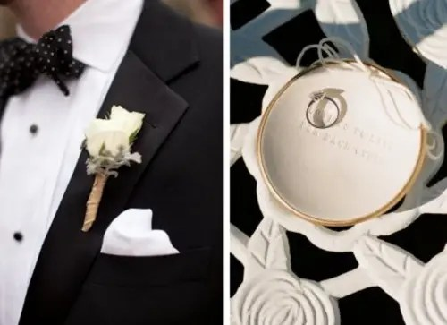 a black and white groom's tux and a white ring plate