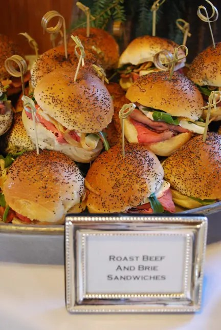 roast beef and brie sandwiches in any size are a hearty appetizer that can be served with beer