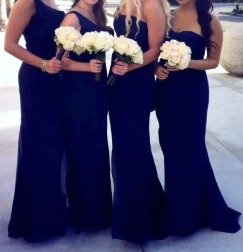 121675c3 navy strapless and one shoulder maxi mermaid bridesmaid dresses with white  bouquets