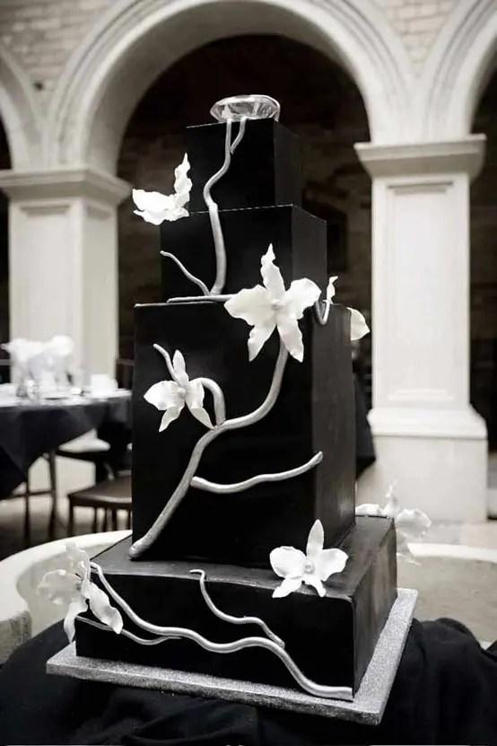 Square Shaped Black Wedding Cake