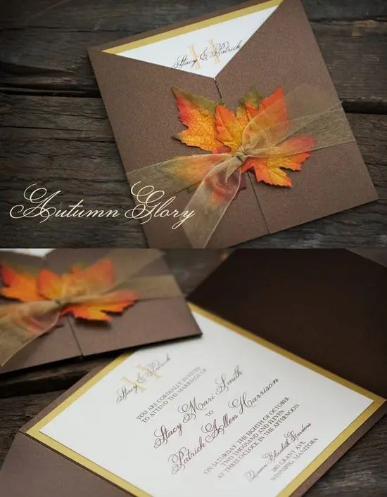 Autumn Themed Wedding Invitations Are Simple To Create And Result In A Beautiful Treasure The Rich Colors Of Season Perfect As Color Scheme For