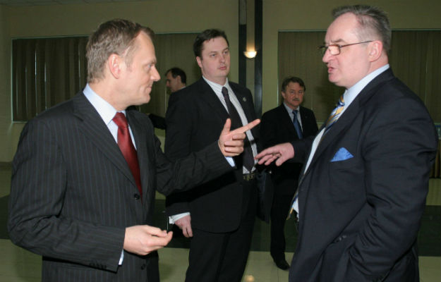 Donald Tusk i Jacek Saryusz-Wolski w 2008 roku