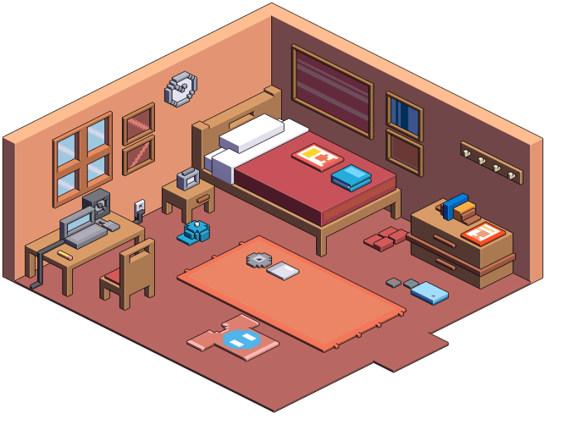 How To Draw Isometric View Of Bedroom   Nakedsnakepress.com on Bedroom Reference  id=24141