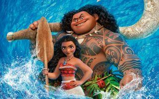 Картинка мультфильм, персонажи Моана и Мауи на рабочий стол