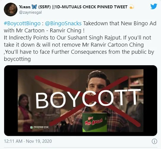 Bingo releases its official statement on advertisement featuring Ranveer Singh that upset SSR fans 3