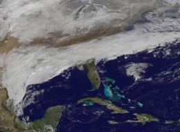 Satellite image of the storm about to hit the U.S. south taken from NOAA's GOES-East satellite on Feb. 11 at 1815 UTC/1:15 p.m. EST.
