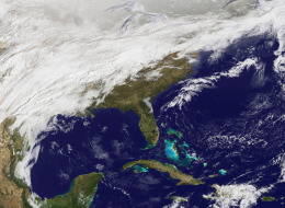 In this handout from NASA, a large storm system moves toward the East Coast of the U.S. March 2, 2014. (Photo by NASA via Getty Images)